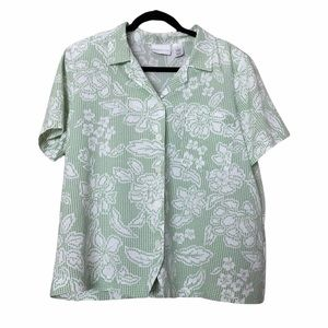 Alfred Dunner green checkered floral blouse 16